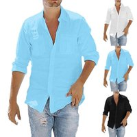 Camisas casuales de los hombres 2021 Blusa Camisa de lino de algodón Tops sueltos de manga larga Retro Pocket Color Sólido Top más Tamaño 5XL