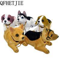 Qfhetjie ornamento che agitando annuendo lo styling carino bobblehead dog bambola scuote la testa per la decorazione degli interni dell'auto