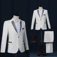 Paillette Stage Clothing For Men Suit Set With Pants 2021 Mens Wedding Suits Costume Groom Formal Dress Singer Star Style Dance Men's & Blaz