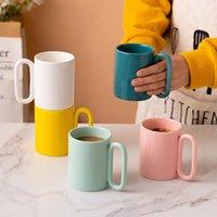 Mugs 300MLins Korea Mug Big Ear Ceramic Cup Creative Oval Ring Handle Niche Yogurt Simple Water Business Office