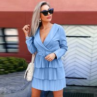 Casual Dresses Women Vintage Sashes Pleated A-line Party Dress Long Sleeve Sexy Deep V Neck Solid Elegant 2021 Winter