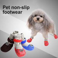 Dog Apparel Shoes Cotton Rubber Rain Snow Boots Socks 4Pcs Set Outdoor Indoor Anti-slip Silicone Sole Pet Puppy Cat