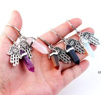 Keyring Jewelry Cheap Healing Crystals Amethyst Rose Quartz Bead Chakra Healing Point Fatima Hamsa Keychain DHB7660