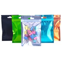 Storage Bags 100Pcs lot Colorful Aluminum Foil One Side Clear Plastic Pouches With Hang Hole Tear Notch Zipper Food Gift Sundries Bag