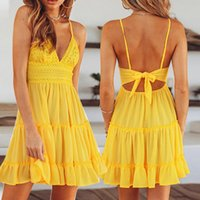 Casual Dresses Women Summer Holiday Beach Dress Cotton Cocktail Short Party V-neck Mini Sleeveless Strappy