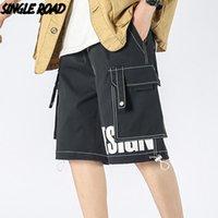 Single Road Men's Cargo Shorts Homens 2021 Bolsos Lado de Verão Calças Sólidas Curtas Calças Japonesas Casual Casual para