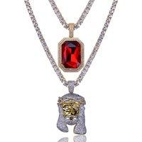 Hip Hop Jesus Diamond Nome Personalizzato Combinazione Combinazione Bolla Lettera Collana pendente Micro Cubic Zirconia Collana in rame Collana in rame Collana in rame