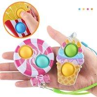 Lollipop fidget dimple toys keychain Favor children Push decompression toy silicone Anti Stress Bubbles Board key chain BWA7517
