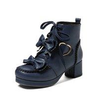 JK 유니폼 겨울 따뜻한 로리타 부츠 일본 카와이 코스프레 파티 하이힐 여성 신발 귀여운 연인 Bowknot Girls LCC0924