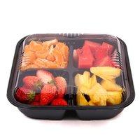 Caixa de fruta descartável, quatro grades, salada de embalagem de corte fresco caixa takeaway tirar recipientes