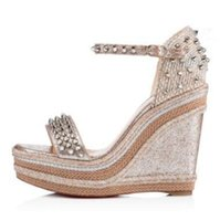 Famous Summer Ladies Red Bottom Wedge Cataclou Sandals Gold Patent Leather Studded Ankle Strap Women's Pumps Party Dress EU35-42,With Box