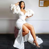 Elegant White Aso Ebi Prom Dresses Puffy Long Sleeves Slit Women Evening Gowns Sexy Lace Appliques Plus Size Custom Made