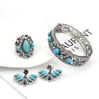 Wedding Jewelry Sets SUNSPICEMS Antique Silver Color Ring Earring Set Green Stone Mosaic Rhinestone Bohemia Party Bridal Gift