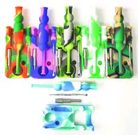 Silicone pipe Nectar Collector kits with 14mm joint Ti Nail oil glass bongs dab rigs