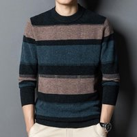 Men's Sweaters Autumn And Winter 100% Pure Wool Sweater Pullover Striped Cashmere Loose Casual Knitted Bottoming Shirt