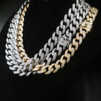 Iced Out Bling Cubic Zircon Paved Golden Finish Wide Band 15mm Miami Cuban Link Chain Necklace Men's Hip Hop Jewelry Chains