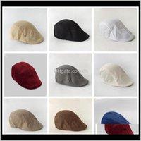 Erkekler Bere Şapkalar İlkbahar Sonbahar İngiliz Retro Keten Ördek Dil Kapağı Katı Renk İleri Şapka Rahat Moda Kapaklar Parti Favor OWD2160 K U6ZBV