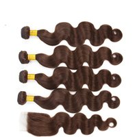 Body Wave Human Hair 5 Bundles with Lace Closure Dark Brown Pre-Plucked Natural Hairline