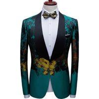 Trajes de hombre Blazers Blazer Blazer colorido abstracto floral de algodón de algodón de poliéster con solapa de chal y bolsillos sin colgajo de hombres de alta gama