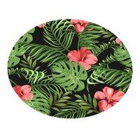 Tapetes de banho Esteira Impermeável Elementos botânicos Cobertor Redondo Casa de Banho Tapete Planta Decoração Jardim Jardim Decoração Ornamentos