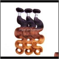 Wefts Products Drop Доставка 2021 Волна тела Человеческие Усилители Бразильские Перуанские Индийские 100 Граждающиеся Девственные Волосы Наращивание волос Оммре Три тон 8-28in