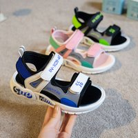 Boys' sandals summer middle school soft soled antiskid little girls' beach children's shoes