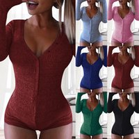 Mujeres pijamas sexy algodón onesie damas ropa de dormir una pieza mono pijamas noche ropa de noche para adultos sólidos sexy nighties bodysuits