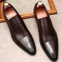 Zapatillas de vestir Moda para hombre Hombres casuales de cuero genuino Punta de punta puntiaguda en boda formal Zapato de negocios Negro Oxford Lofers
