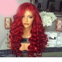 New arrival remy virgin human hair pure raw red colorful long body wave full lace silk top wig for women