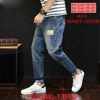 Erkek Büyük Boy Kot Tayt 46 48 Harlan Düz Scratch Artı 8XL 9XL 10XL Sonbahar Klasik Kot Streç Pantolon J0QZ #