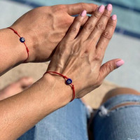 Charm Bracelets Couples Lucky Evil Blue Eye Charms Bracelet Red String Thread Rope Couple Wish Card Jewelry For Women Men