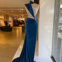 Royal Blue Velvet Evening Dress Sequins Beading Pleat Mermaid Prom Gowns Women Illusion Formal Party Wear Vestidos De Novia