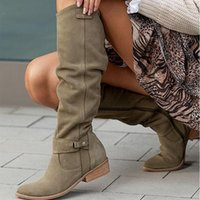 Boots Autumn Women Knee High Solid Color Ladies Boot Warm Pointed Toe Sexy Zipper Low Heel Pumps Comfortable Female Shoes
