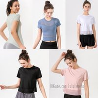 إمرأة قمصان اليوغا t-shirt بلايز للنساء مصمم امرأة لو لولو تي شيرت الزي تنفس شبكة الرياضة اللياقة الرباط الجري رياضة القمصان مثير الملابس الداخلية بلون