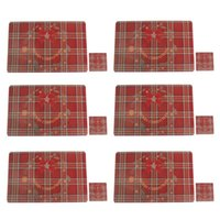 Mats & Pads Christmas Placemat Set Of 6 Tree With Snowflake Heat-Resistant Washable Table Place For Kitchen Dining Deco