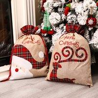 Linne Santa säck julklappväska Röd plaid Drawstring Tote Bags Festival Decoration