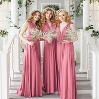 Summer Beach Garden Convertible Bridesmaid Dresses Long Chiffon A Line 2021 Plus Size Floor Length Sexy Backless Maid Of Honor Gowns Wedding Party Guest Dress AL9045