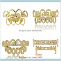 Grillz, Body Jewelry18K Real Gold Punk Hiphop Diamond Hollow Teeth Grillz Dental Mouth Iced Out Fang Grills Braces Tooth Cap Vampire Rapper
