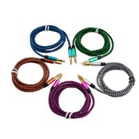 Bil AUDIO AUX EXTENTION CABLE NYLON BRAVED 3FT 1M WIRED AUXILIARY STEREO JACK 3.5mm Manlig ledning för smart telefon