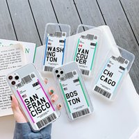 Lettere trasparenti Soft TPU Shell Cell Phone Cases Cases Newyork Londra per iPhone 11 12 Pro XS Max x XR 7 8 Plus INS City Travel Etichetta Barcode Commercio all'ingrosso