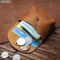 Card Holders 100% Genuine Leather Holder Wallet For Men Male Vintage Handmade Short Men's Coin Purse Small Money Bag