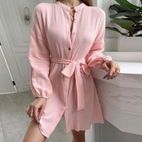 Casual Dresses Women A Line Lace Up Mini Dress Lantern Sleeve Loose Homewear Pink Single Breasted Shirt 2021 High Waist Autumn