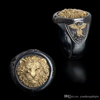 Cool Men's 18K Yellow Gold Two-tone Black Gold Diamond Ring Africa Grassland Lion Ring Men Wedding Party Jewelry Size 6- 13