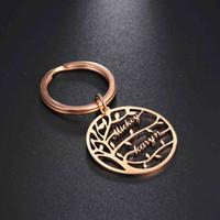 Nome dell'albero della vita Custom Personalizzato Portachiavi personalizzato Family Love Lover Coppia in acciaio inox Portachiavi Ring Pendant Regalo per uomo Donne