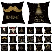 12 style black base Gold print Christmas PillowCase linen 45*45cm pillows covers home sofa cushion cover Home-Textiles Xmas decorations T9I001590