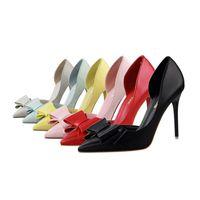 Dolce scarpe col tacco alto moda 6 colros bocca poco profonda scarpe a punta partito scarpe scamosciate scava fuori bowknot scarpe singole signora 519-1