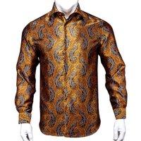 Men's Casual Shirts Hi-Tie 100% Silk Luxury Black Gold Embroidery Paisley Dress Shirt Men Long Sleeve Button-Down Outwear 2021