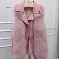 New Winter Women's PU Fur Vest with Sheepskin Collar Motorcycle Gilet Biker Jacket Waistcoat Female Man-Made Fur Vest Coats