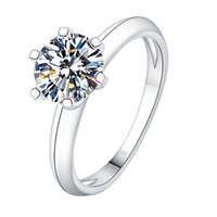 Anelli in argento sterling a sei artiglio di Trendy Diamond 925 Anelli per le donne fidanzamento Wedding Squisita Elegante Elegante Fascino Elegante Gioielli carini