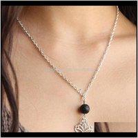& Pendants Drop Delivery 2021 Lava-Rock Lotus Aromatherapy Essential Oil Diffuser Necklaces Natural Black Lava Bead Pendant Necklace Fashion